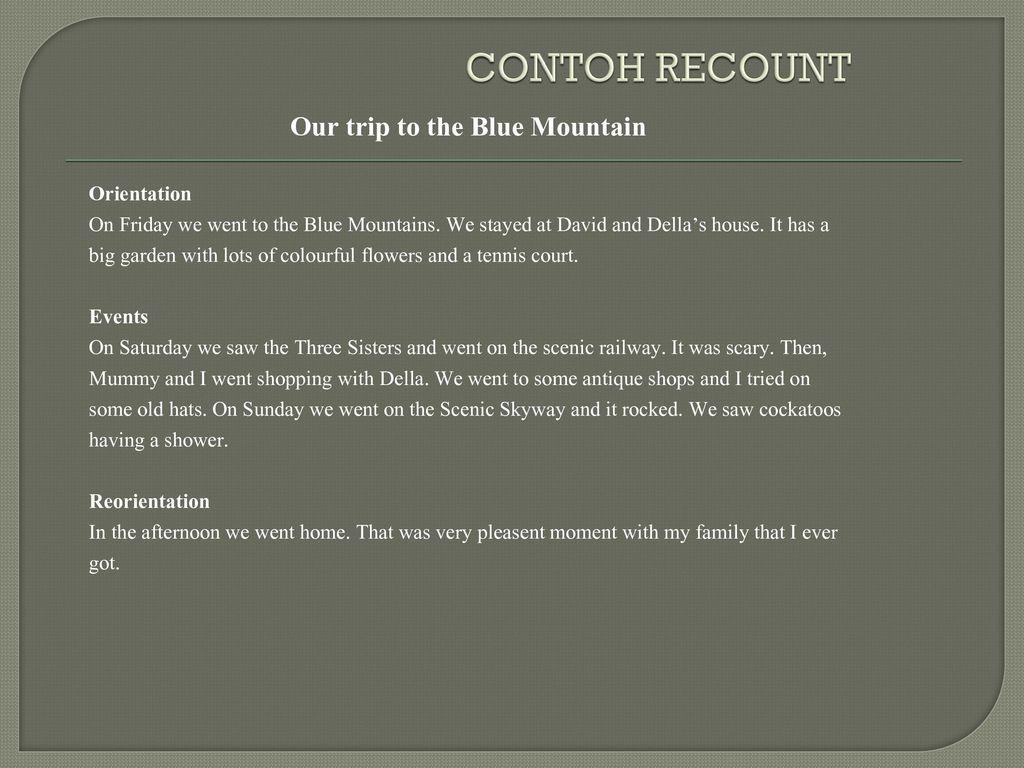 Contoh Recount Text Tentang Pengalaman Pribadi Berbagai Contoh