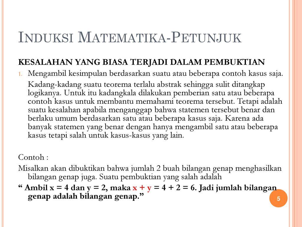 Logika Matematika Bab 5 Induksi Matematika Ppt Download