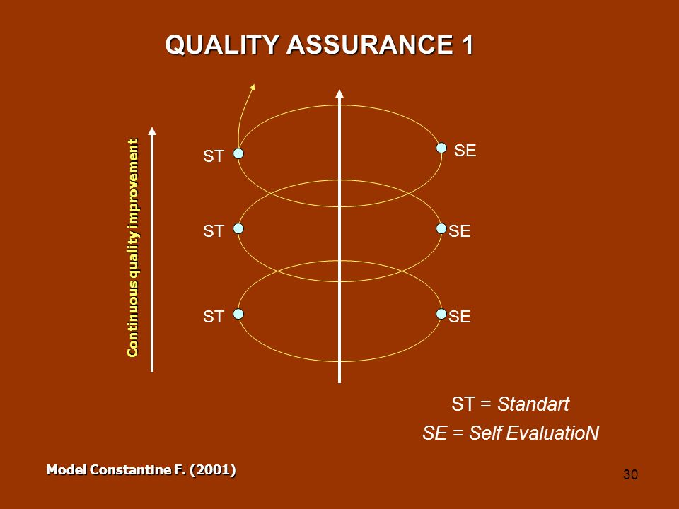 QUALITY ASSURANCE 1 ST = Standart SE = Self EvaluatioN SE ST ST SE ST