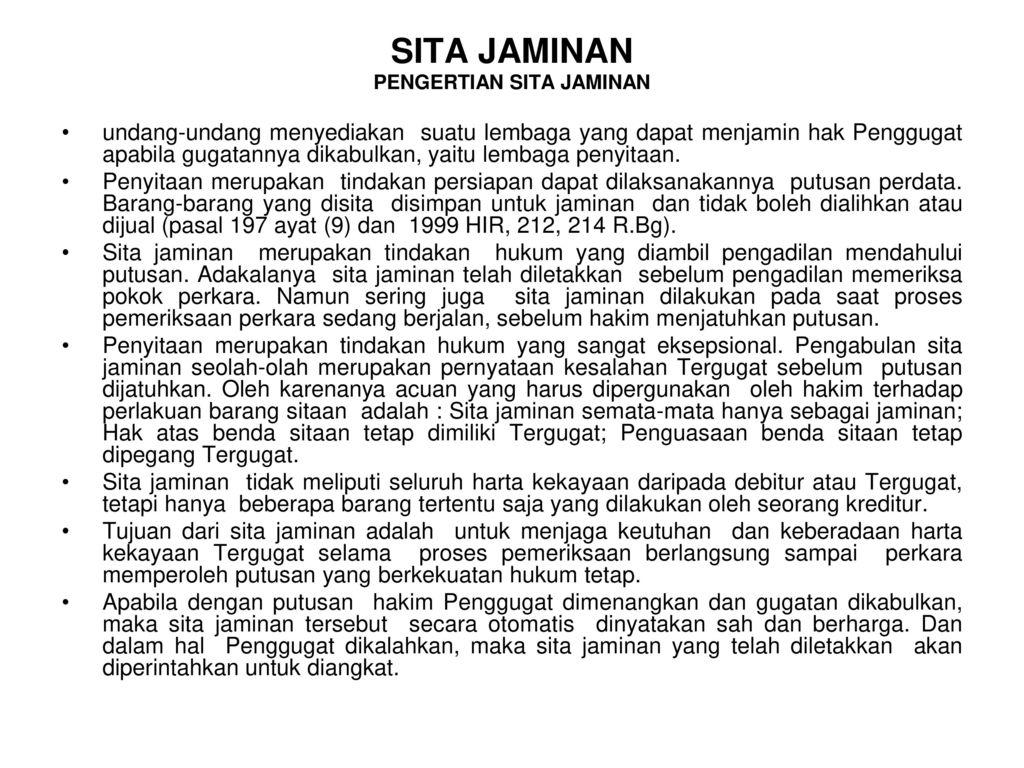 Pengertian Sita Jaminan Ppt Download