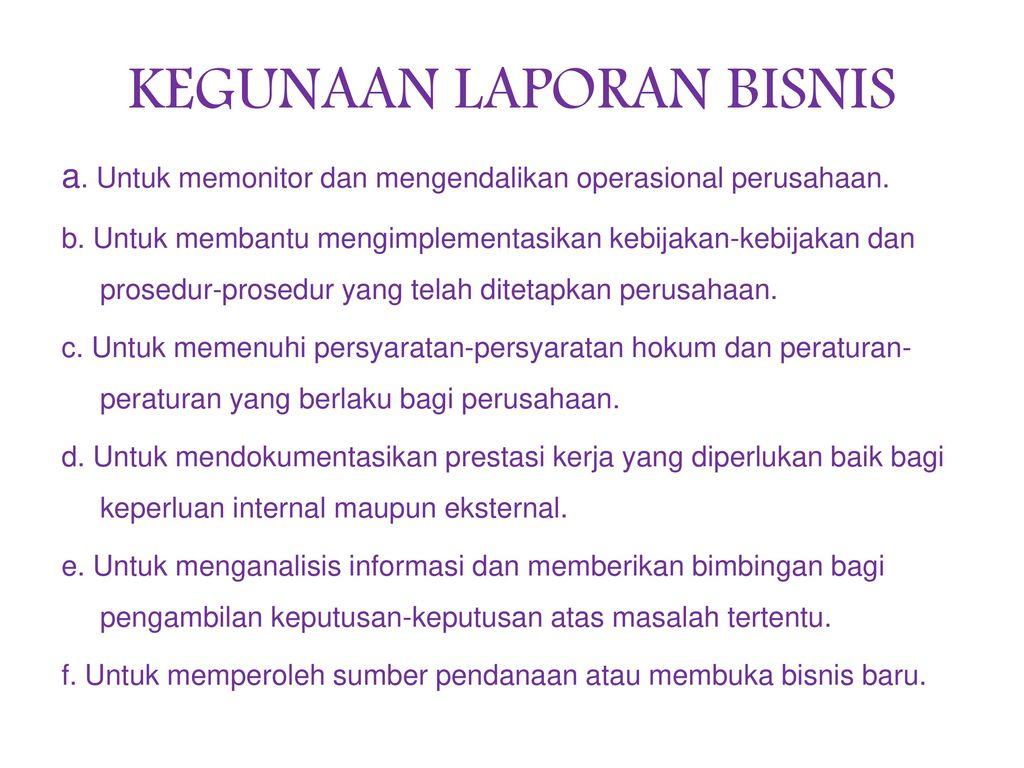 Laporan Bisnis Ppt Download