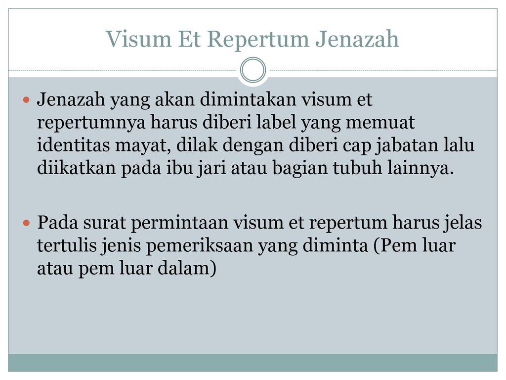 Visum Et Repertum Oleh Dr Indra Spf Ppt Download
