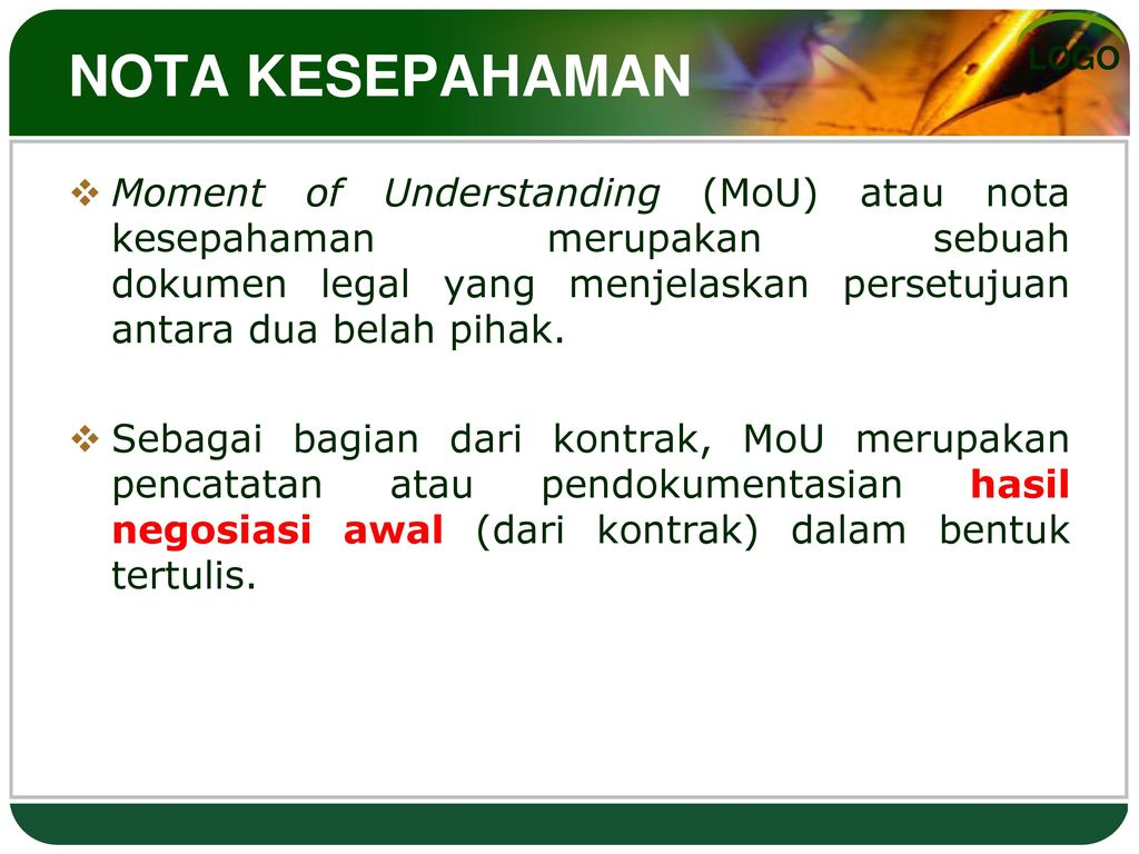 Kontrak Nota Kesepahaman Ppt Download
