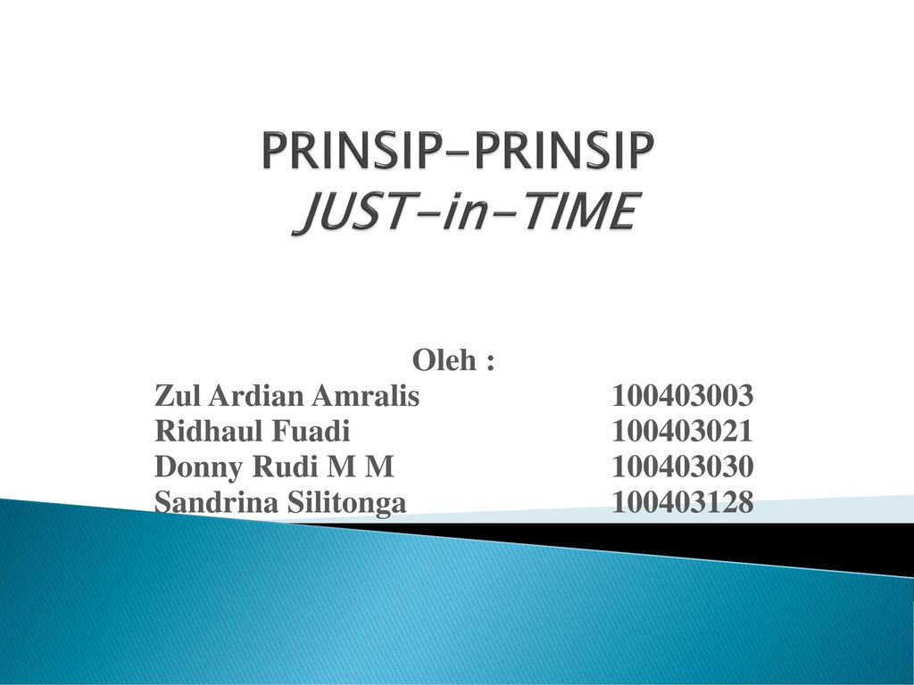 PRINSIP-PRINSIP JUST-in-TIME