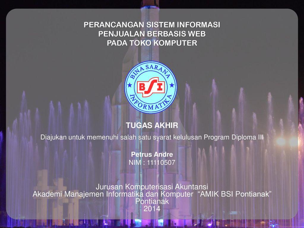 Perancangan Sistem Informasi Penjualan Berbasis Web Pada Toko