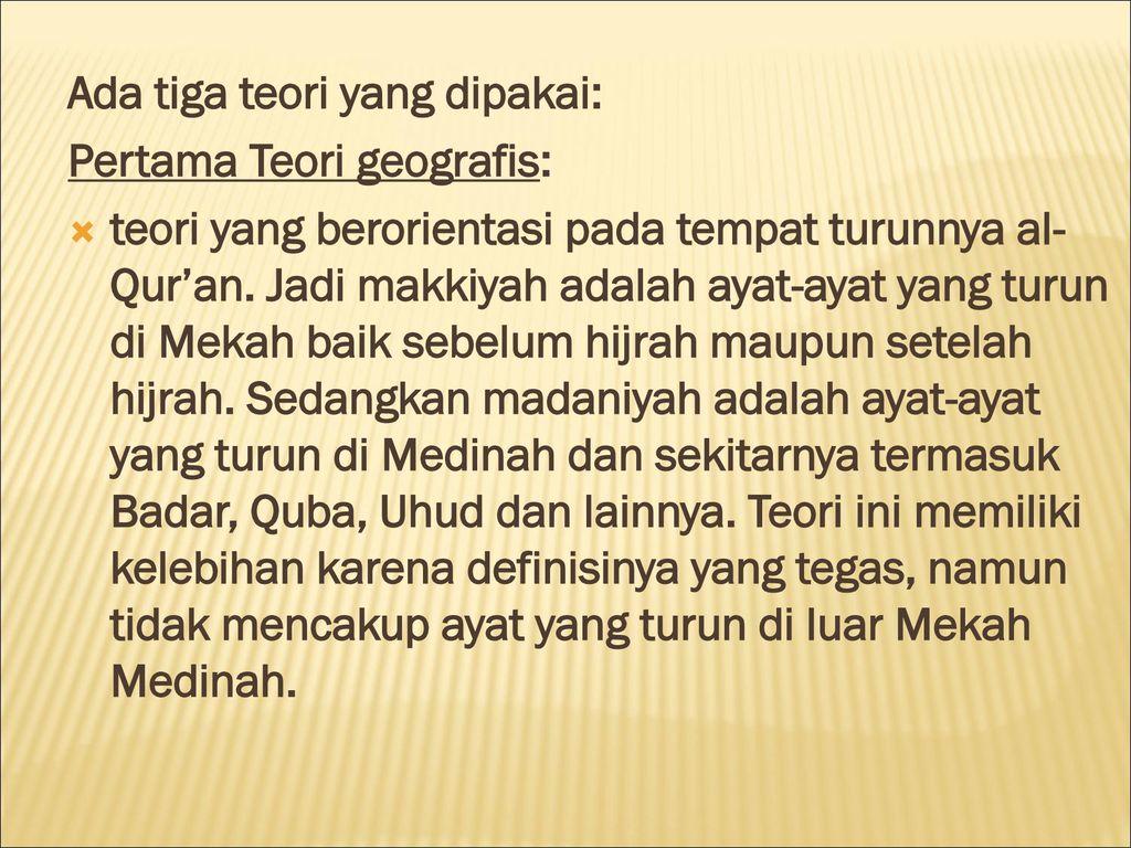 Klasifikasi Ayat Al Qur An Makkiyah Madaniyah Ppt Download