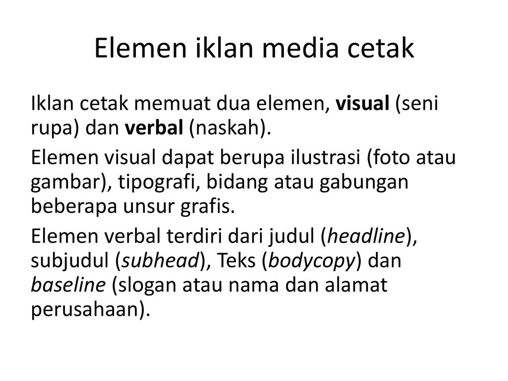 Iklan Media Cetak Copywriting Ppt Download