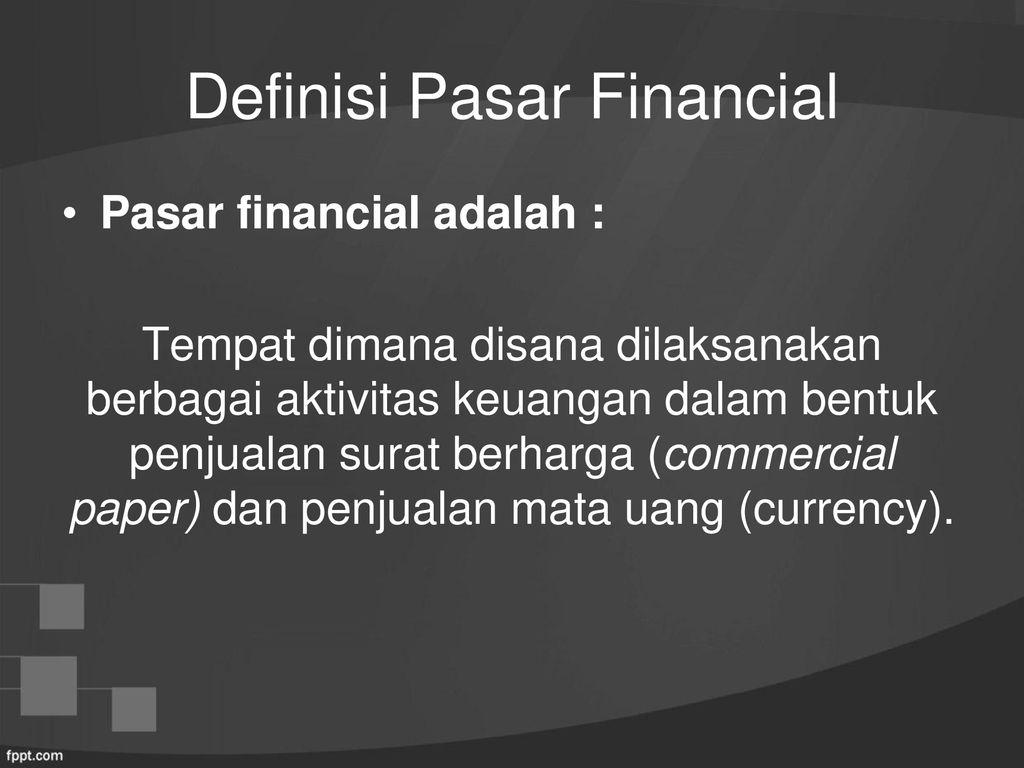 pengertian financial market
