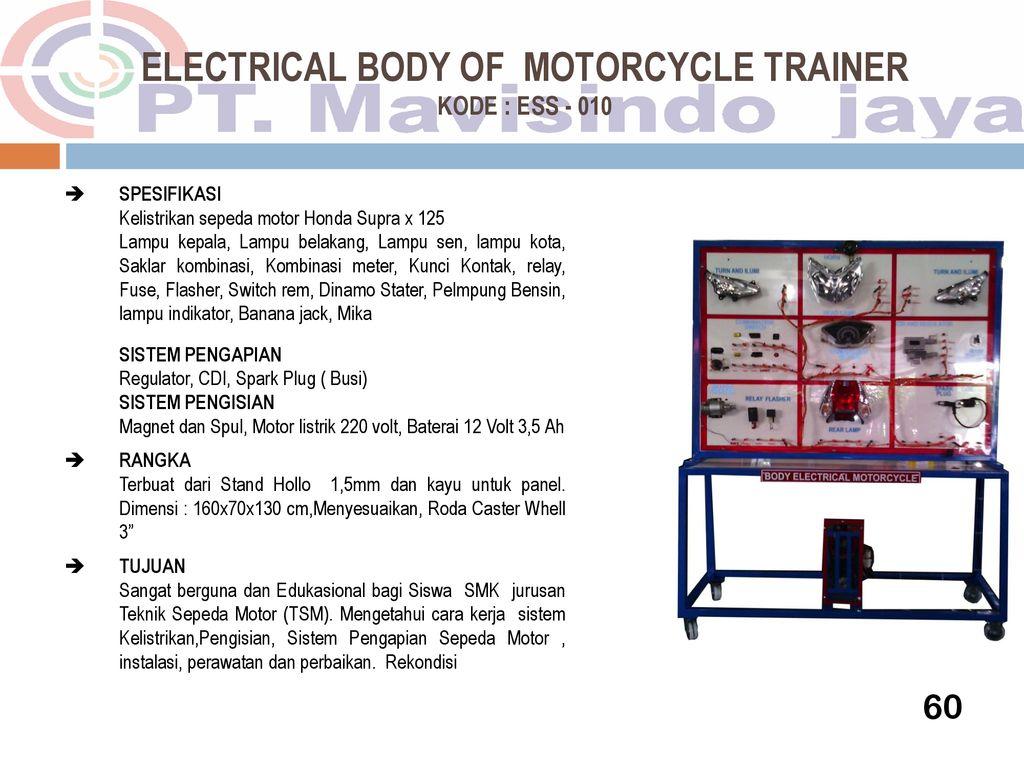 Educational Trainer Automotive Ppt Download Wiring Diagram Motor Honda Supra X 125 61 Electrical Body Of Motorcycle Kode Ess 010 Spesifikasi Kelistrikan Sepeda