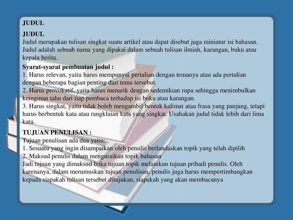 Topik Judul Tema Karya Ilmiah Ppt Download