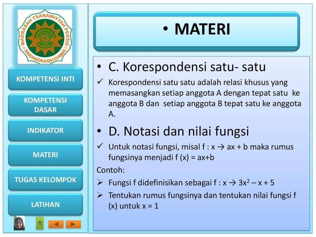 Relasi dan fungsi oleh bunda muslichatun spd ppt download materi c korespondensi satu satu d notasi dan nilai fungsi ccuart Images