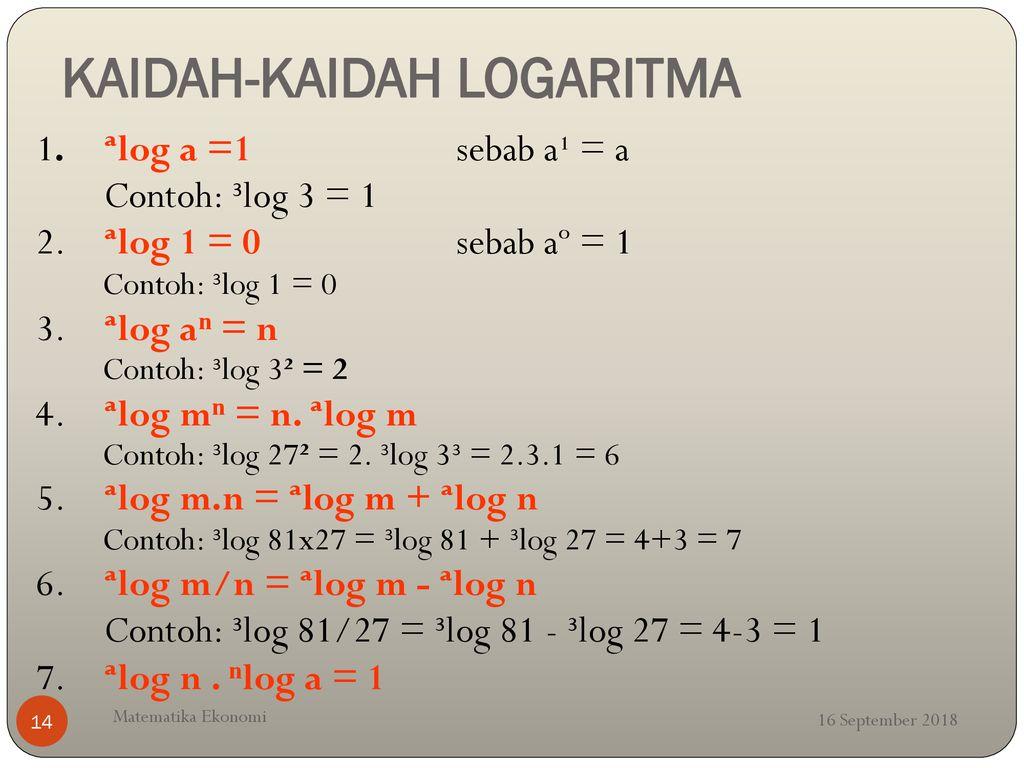 Contoh Soal Logaritma Matematika Ekonomi Kumpulan Soal Pelajaran 7