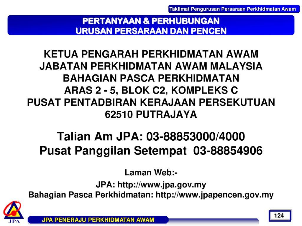 Jabatan Perkhidmatan Awam Malaysia Bahagian Pasca Perkhidmatan Pencen