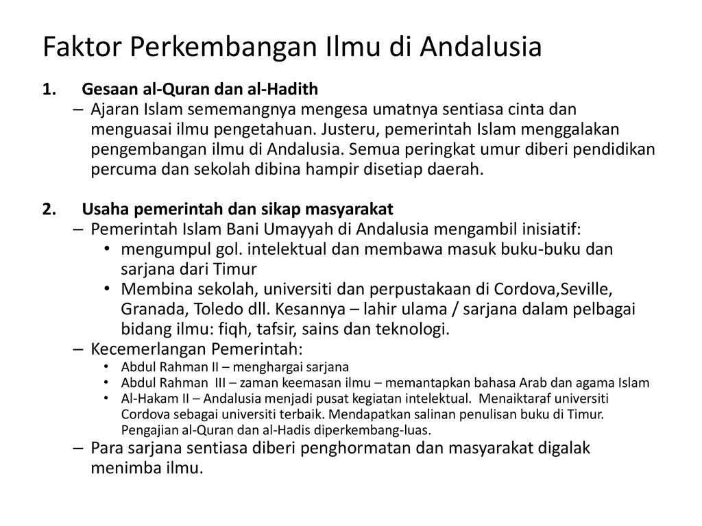 Kecemerlangan Tamadun Islam Di Andalusia Ppt Download