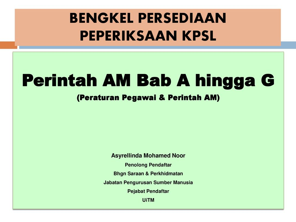 Bengkel Persediaan Peperiksaan Kpsl Ppt Download