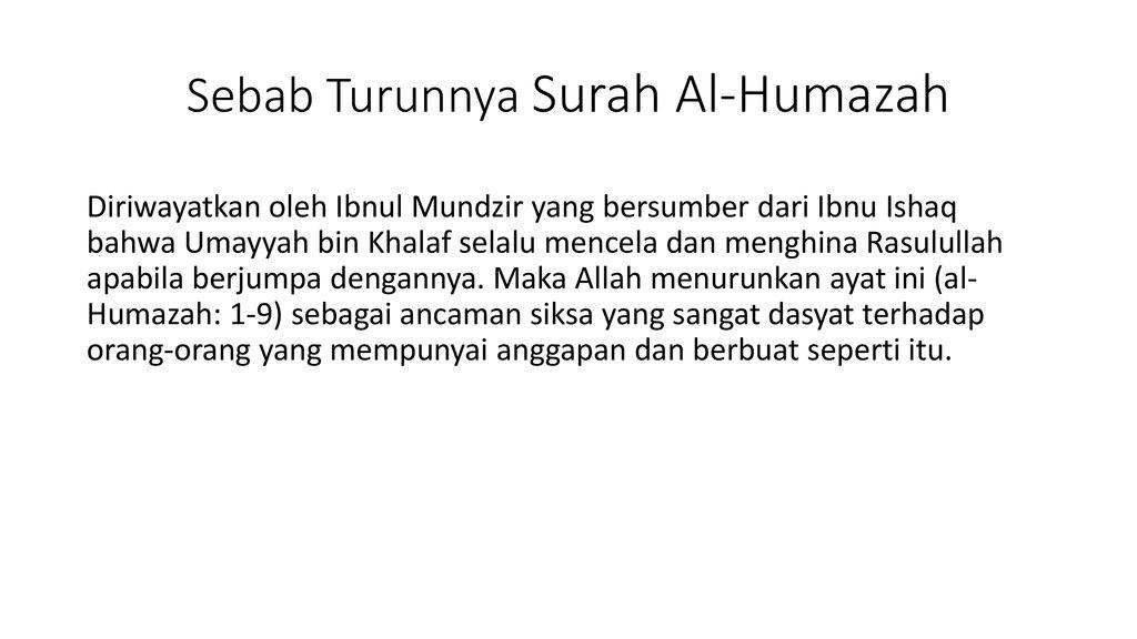 Surah Al Humazah Dengan Nama Allah Yang Maha Pemurah Lagi