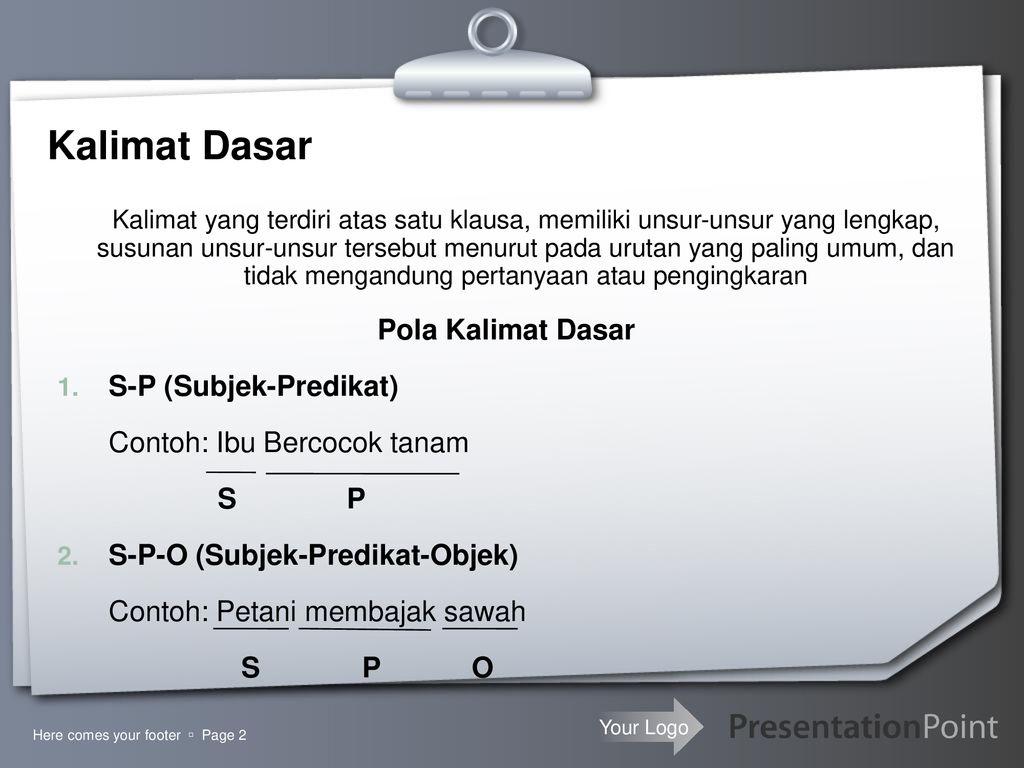 Kalimat Dasar Kalimat Turunan Ppt Download