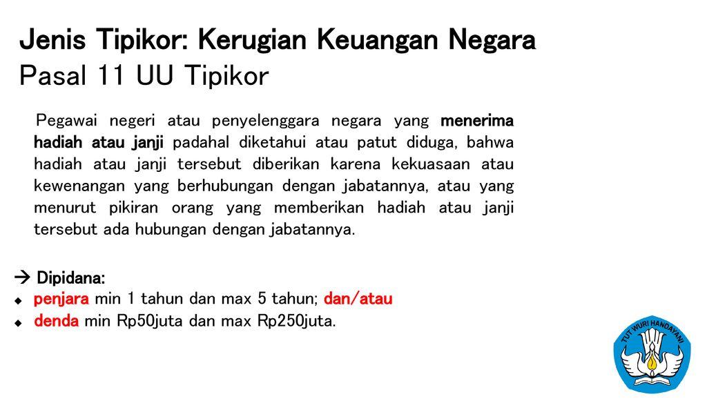Tindak Pidana Korupsi Jenis Dan Modusnya Ppt Download