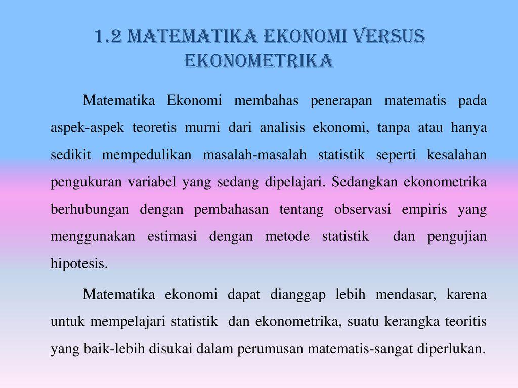 Sifat Sifat Matematika Ekonomi Ppt Download