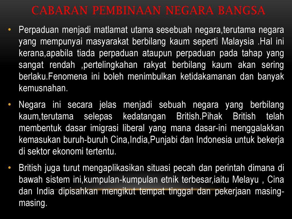 Pengajian Malaysia Mpw 1123 Tajuk Cabaran Pembinaan Negara Bangsa Ppt Download