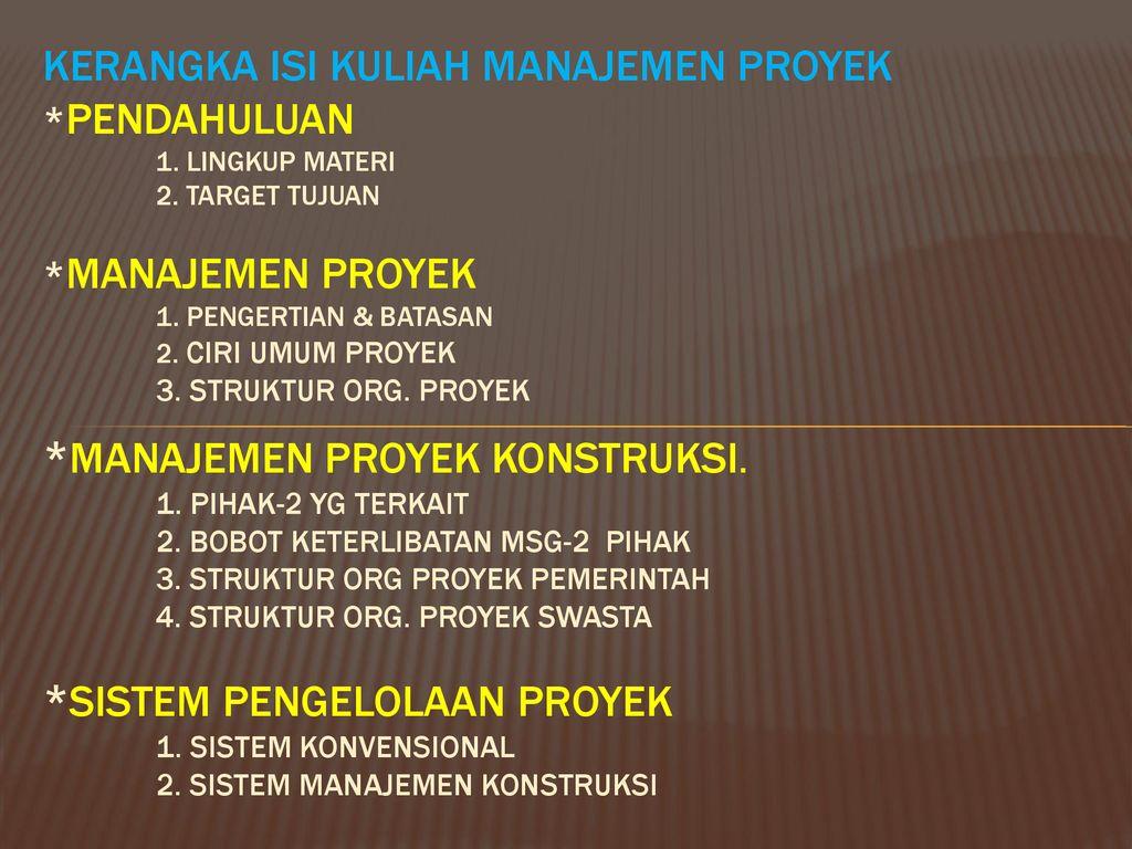 Materi kuliah manajemen konstruksi ppt