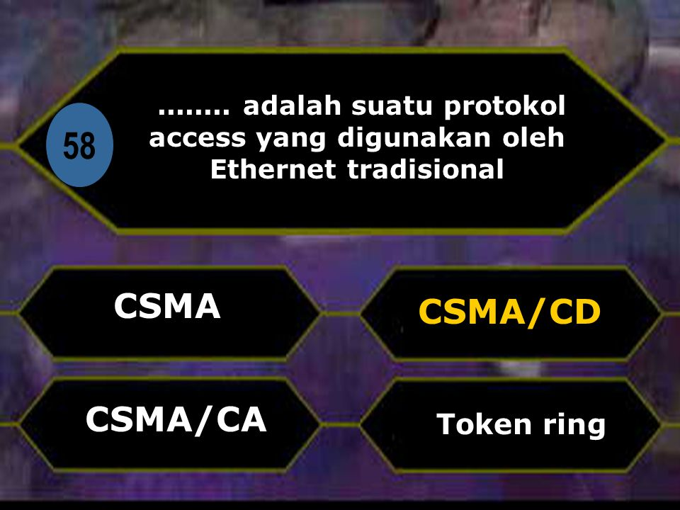 58 CSMA CSMA/CD CSMA/CA Token ring Di