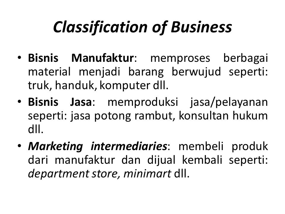 Classification of Business