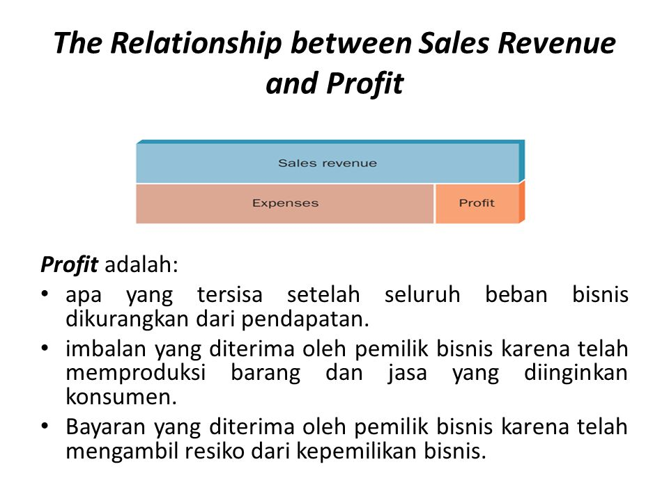 The Relationship between Sales Revenue and Profit