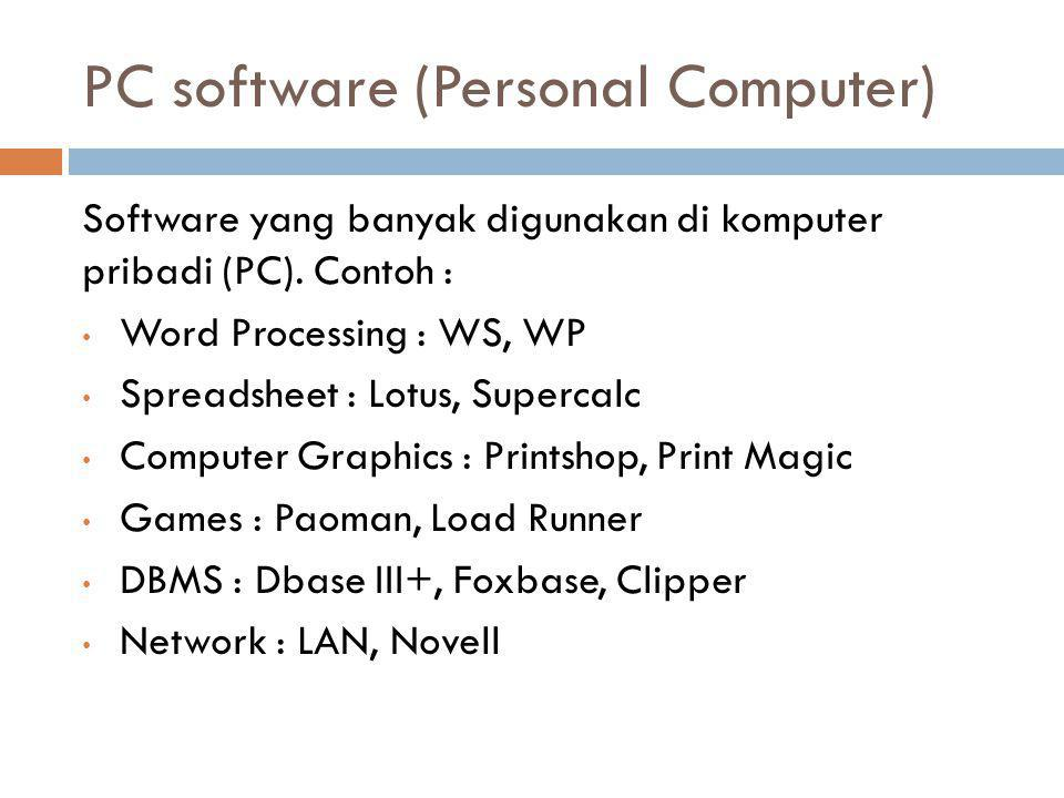 PC software (Personal Computer)