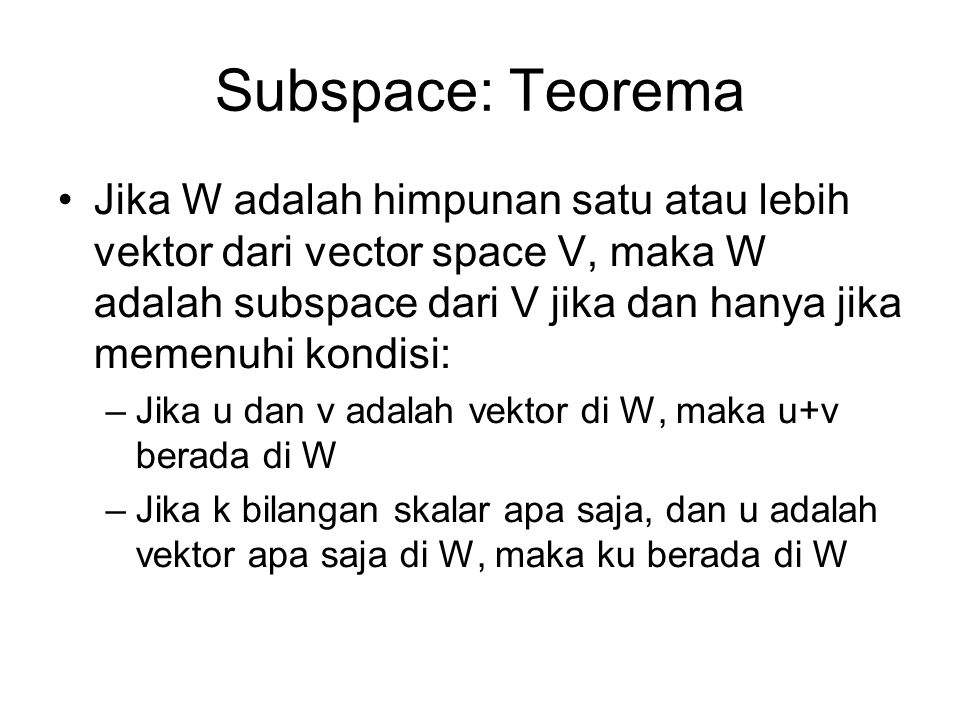 Subspace: Teorema