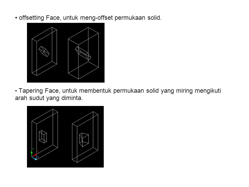 offsetting Face, untuk meng-offset permukaan solid.
