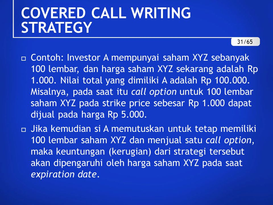 COVERED CALL WRITING STRATEGY
