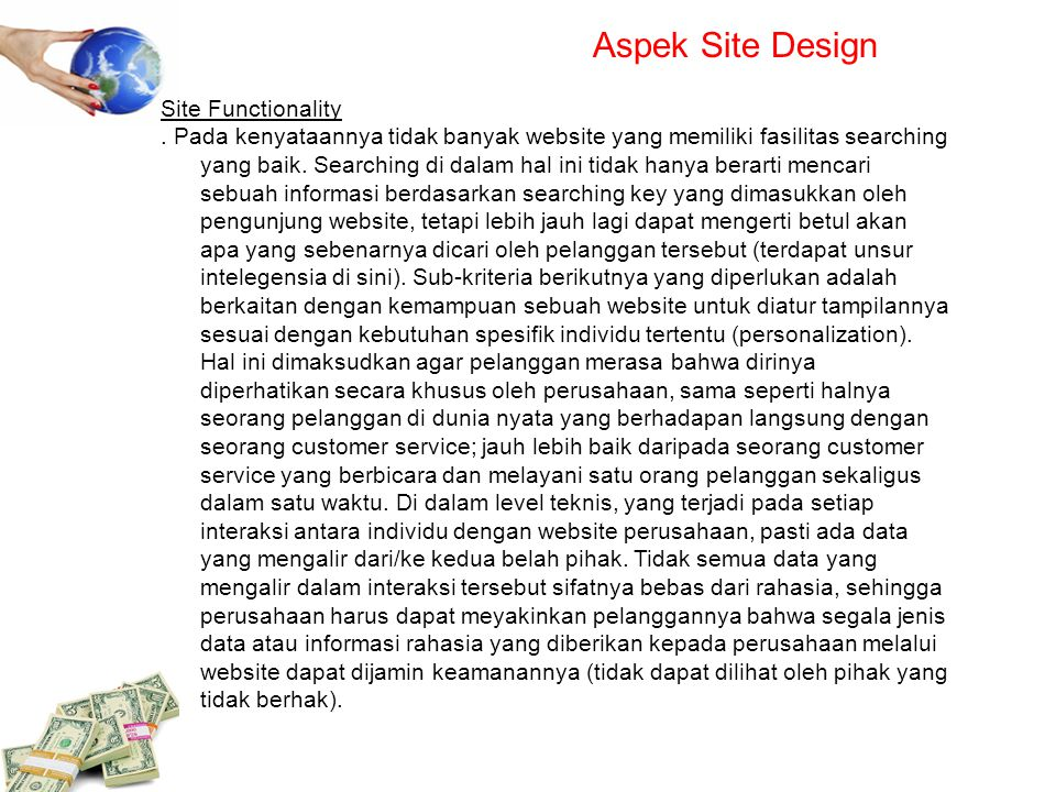 Aspek Site Design Site Functionality