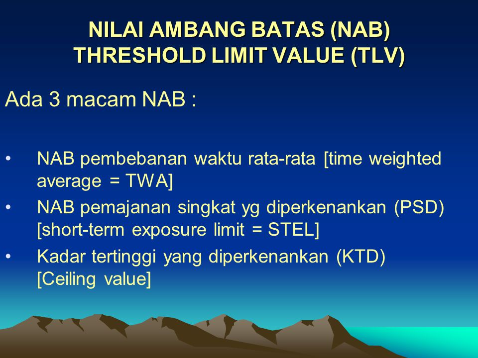 NILAI AMBANG BATAS (NAB) THRESHOLD LIMIT VALUE (TLV)