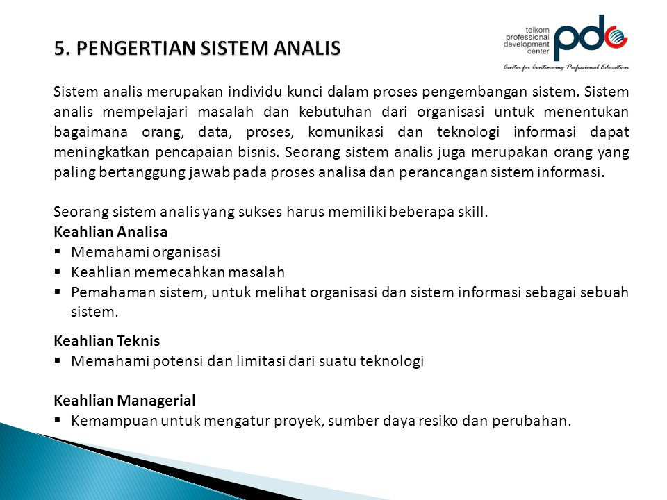 5. PENGERTIAN SISTEM ANALIS