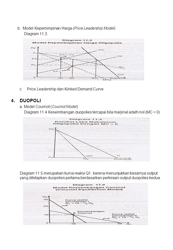 4. DUOPOLI b. Model Kepemimpinan Harga (Price Leadership Model)