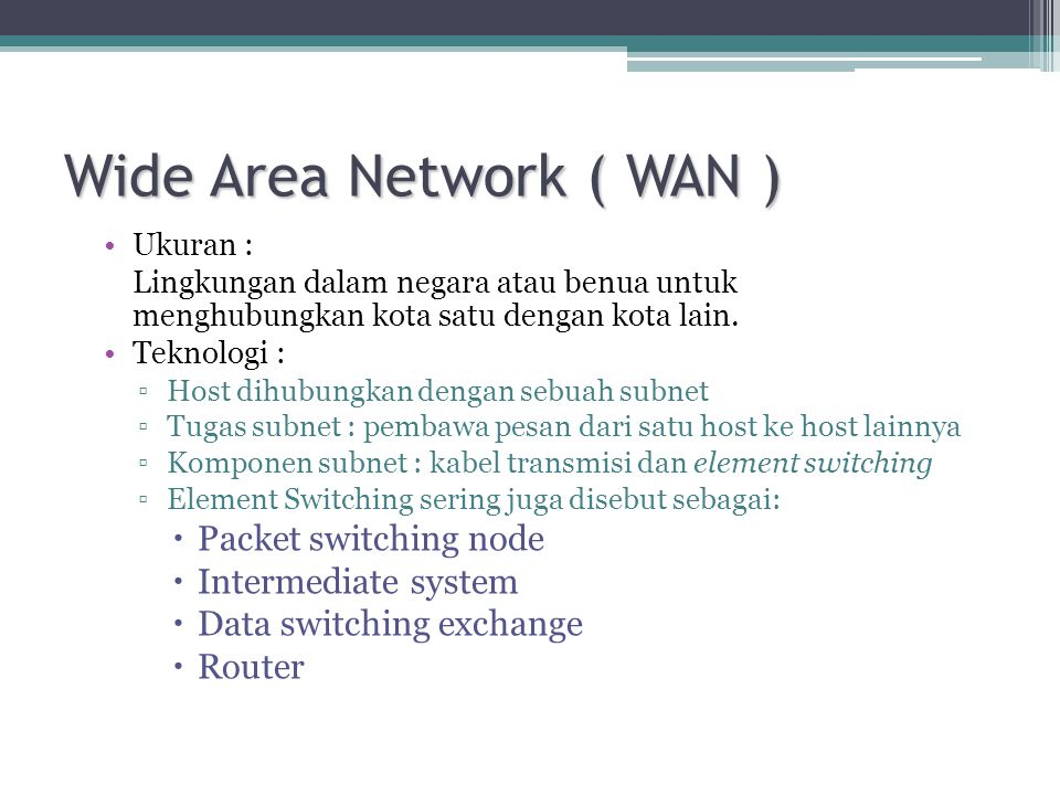 Wide Area Network ( WAN )