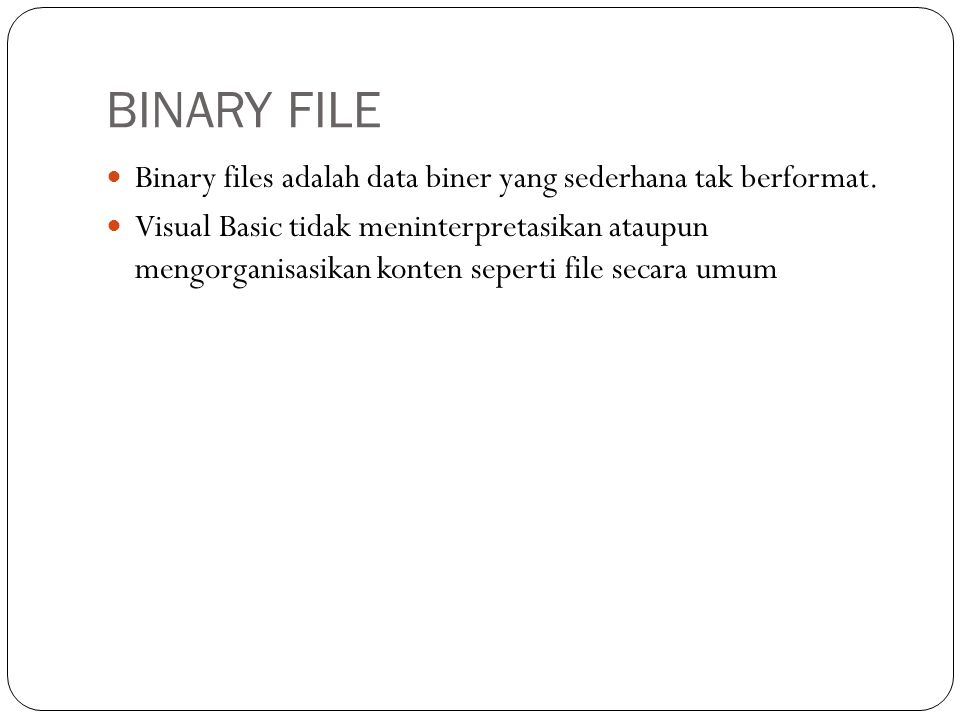 BINARY FILE Binary files adalah data biner yang sederhana tak berformat.