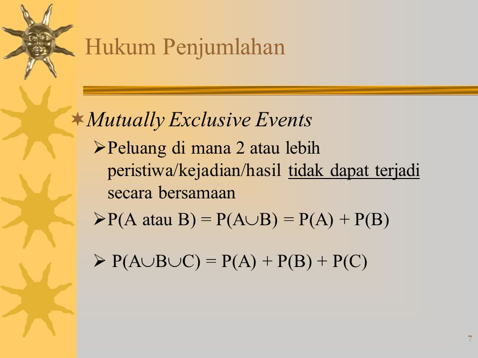 Hukum Penjumlahan Mutually Exclusive Events