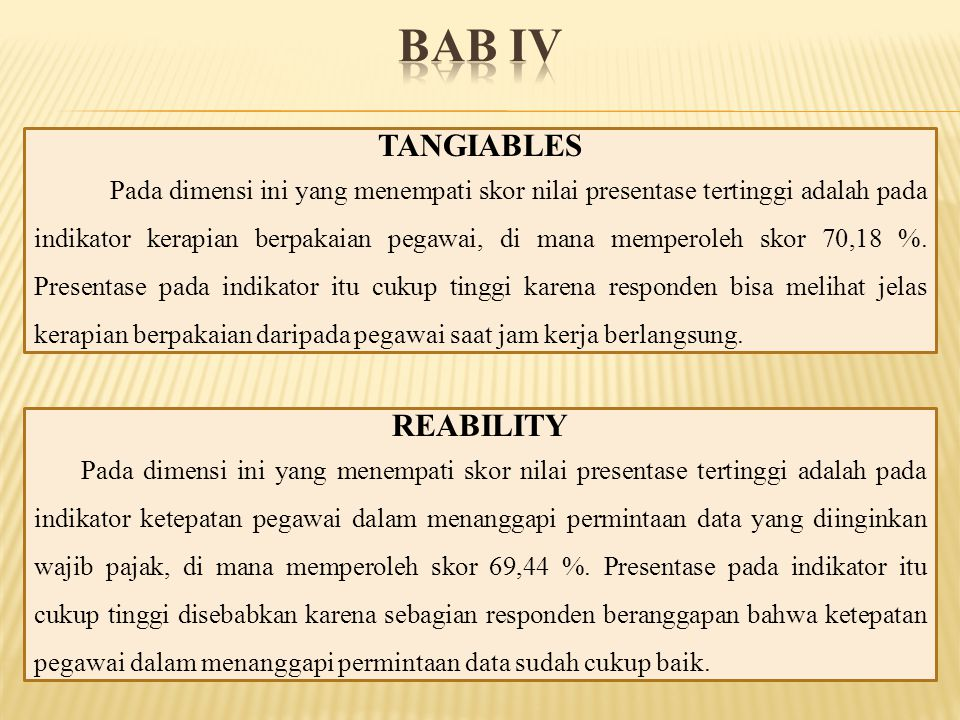 BAB IV TANGIABLES REABILITY