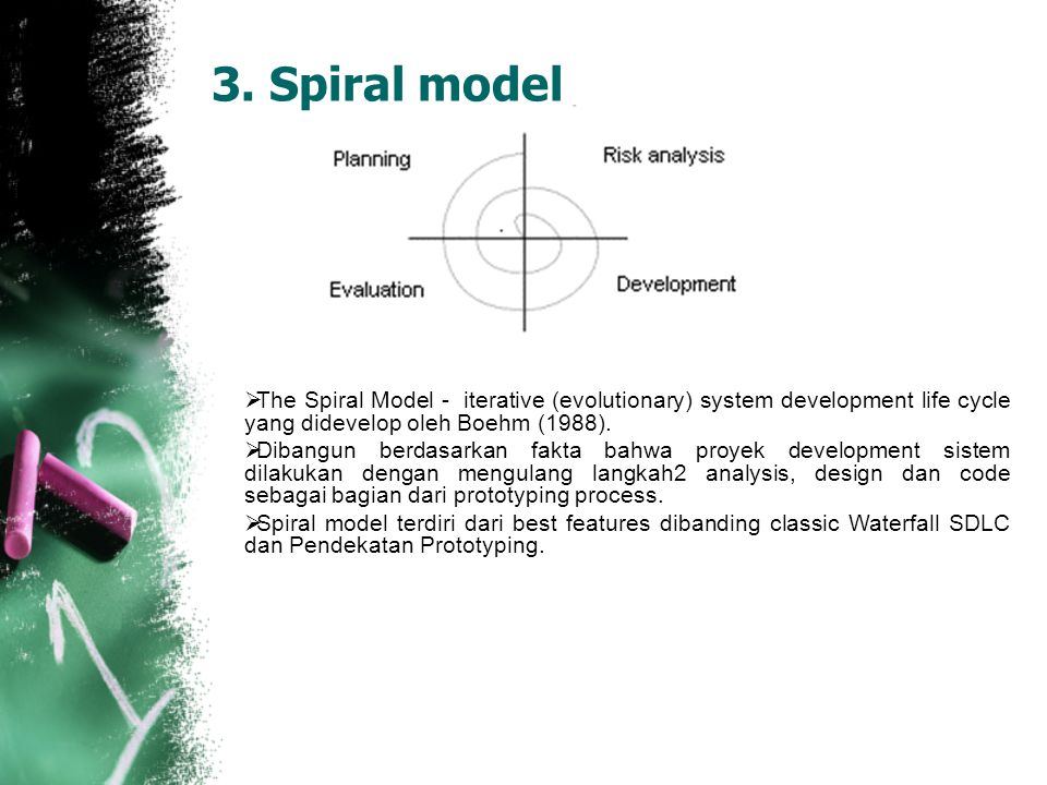 3. Spiral model The Spiral Model - iterative (evolutionary) system development life cycle yang didevelop oleh Boehm (1988).
