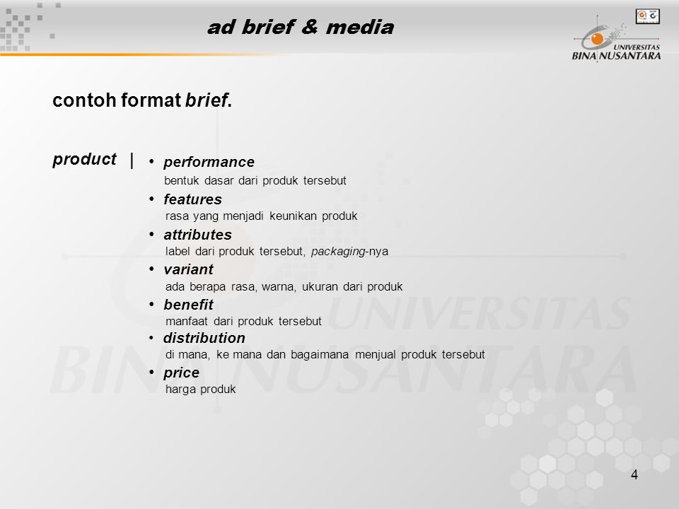 ad brief & media contoh format brief. product | performance features
