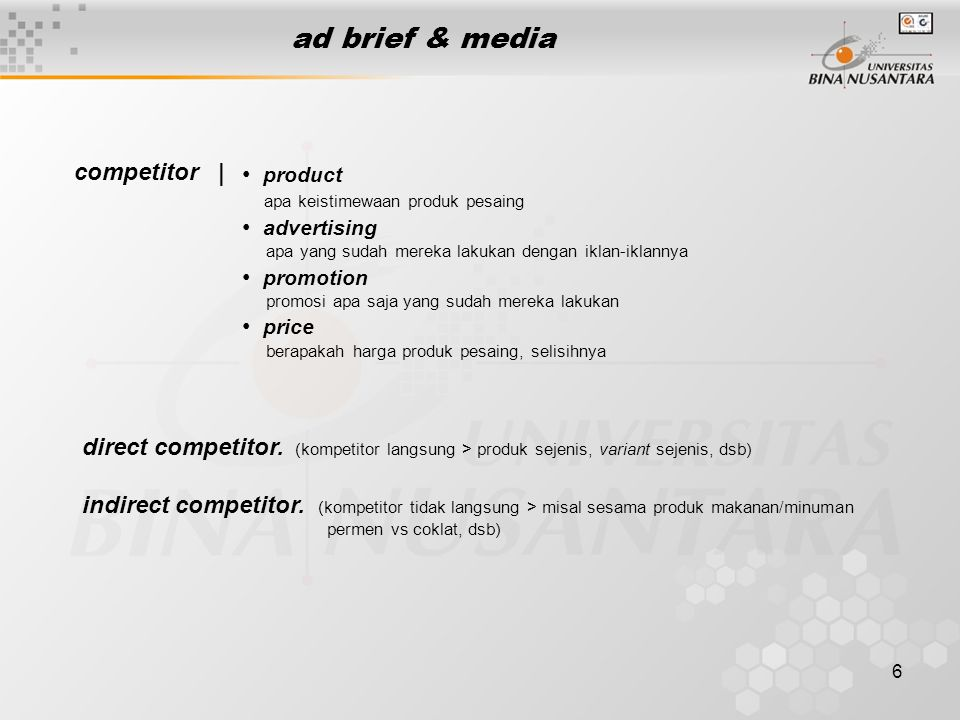 ad brief & media competitor | product advertising promotion price