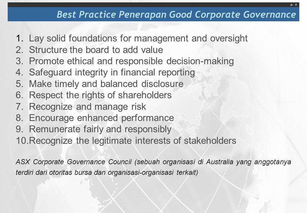 Best Practice Penerapan Good Corporate Governance