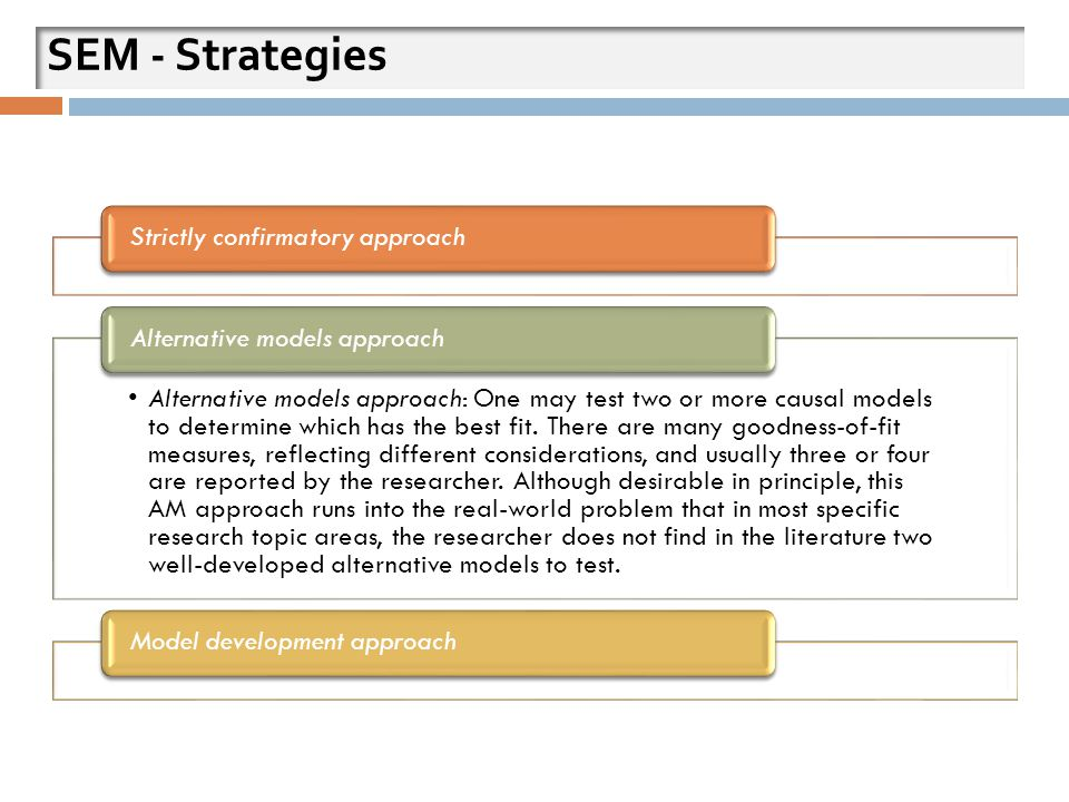 SEM - Strategies Strictly confirmatory approach