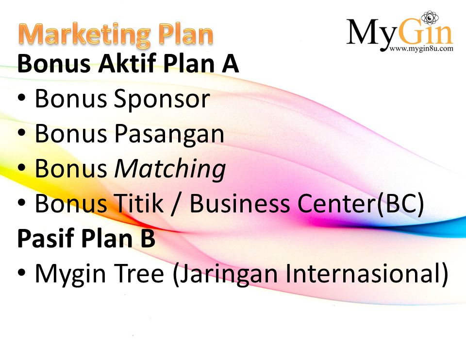 Marketing Plan Bonus Aktif Plan A Bonus Sponsor Bonus Pasangan