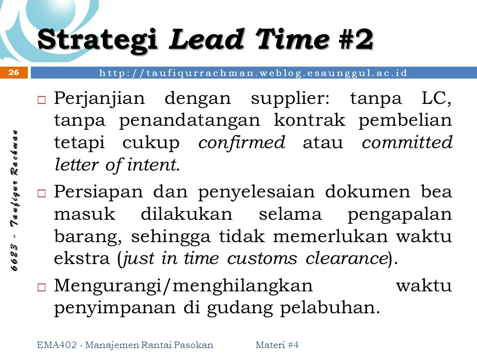 Strategi Lead Time #2