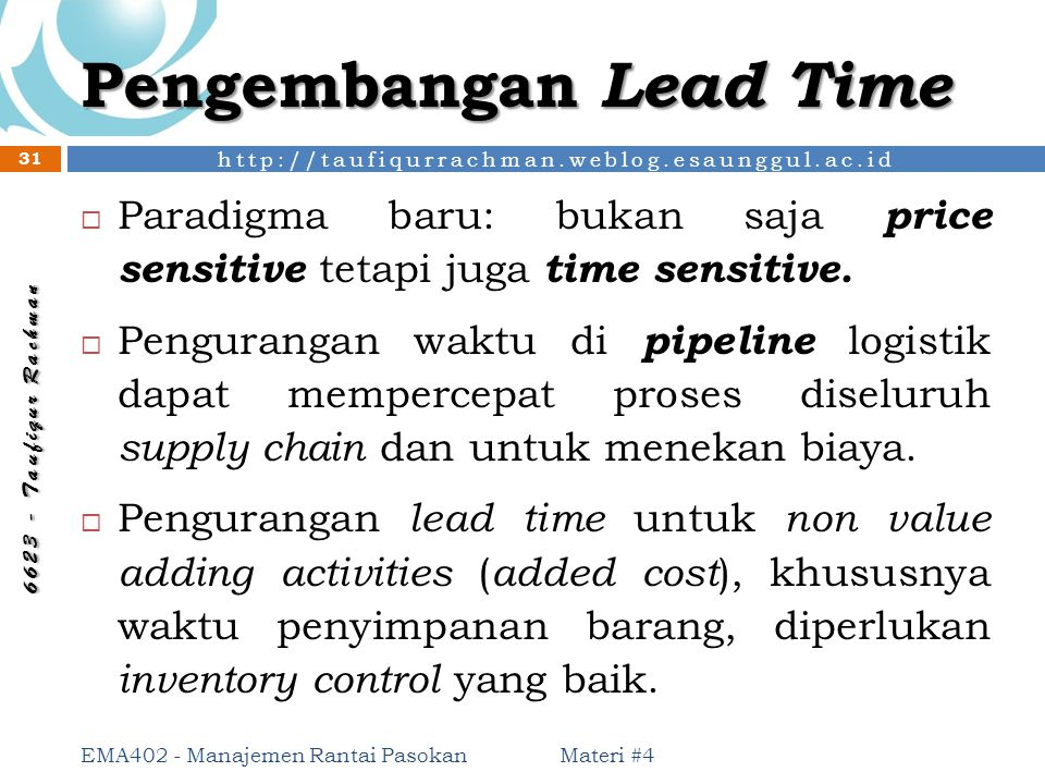 Pengembangan Lead Time