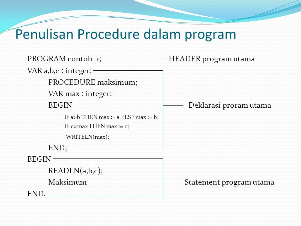 Penulisan Procedure dalam program