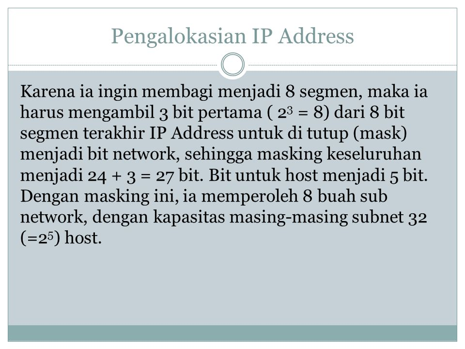 Pengalokasian IP Address